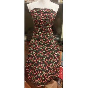 Vtg Retro Rockabilly Cherry Strapless Dress 🍒